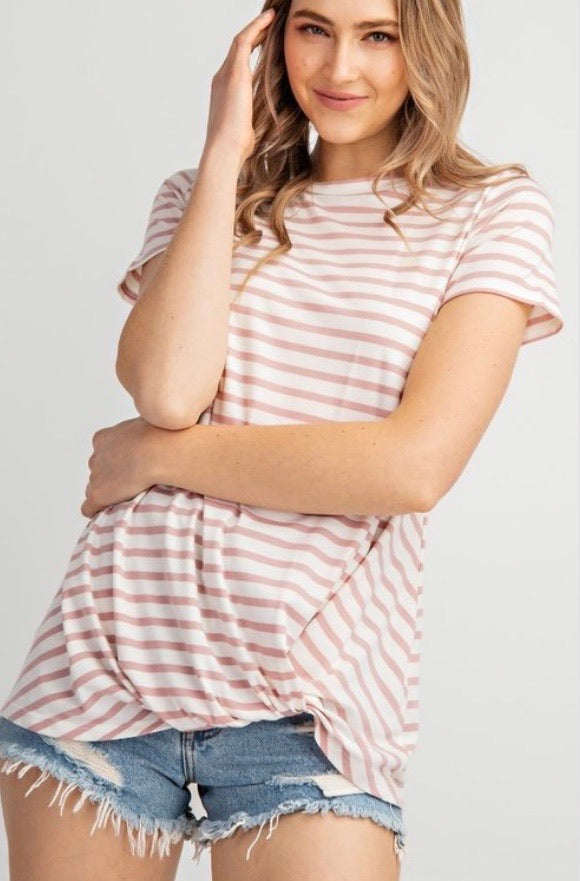 Meet You For Lunch - Striped Tee