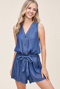 Don't Mind If I Do - Denim Romper