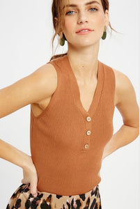 Just Take A Look - Knit Button Tank