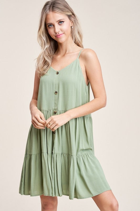 This Is The One - Sage Button Dress