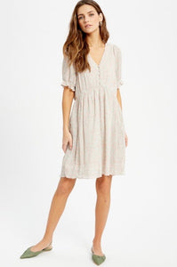 Anywhere You Are - Cream Printed Dress