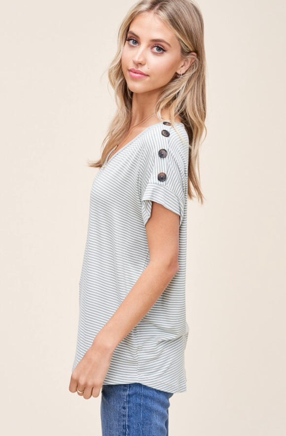 Cute as a Button - Henley T-shirt