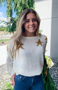 Living Free - White Star Sweater