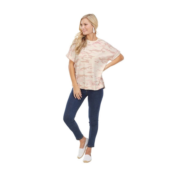 Cotton Candy Camo - Rolled Sleeve T-shirt