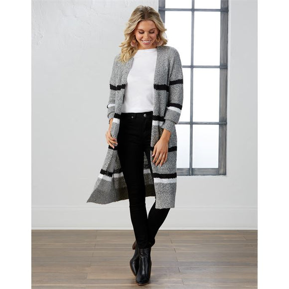 It's All Good Striped Cardigan - Gray