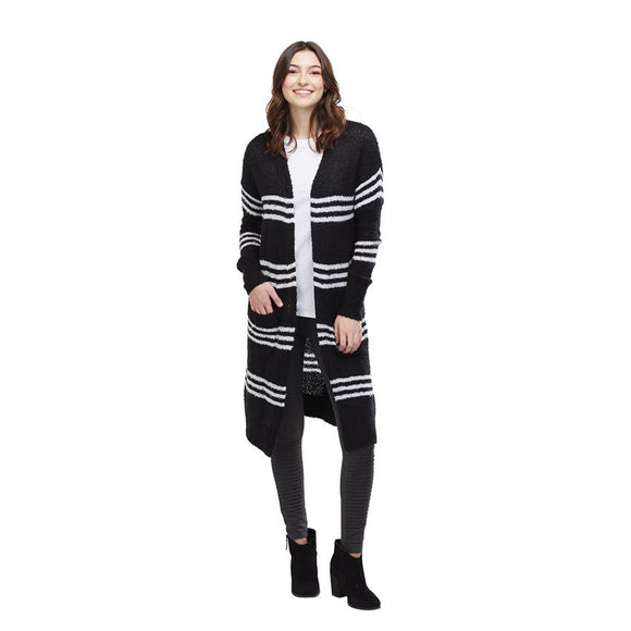 It's All Good Striped Cardigan - Black