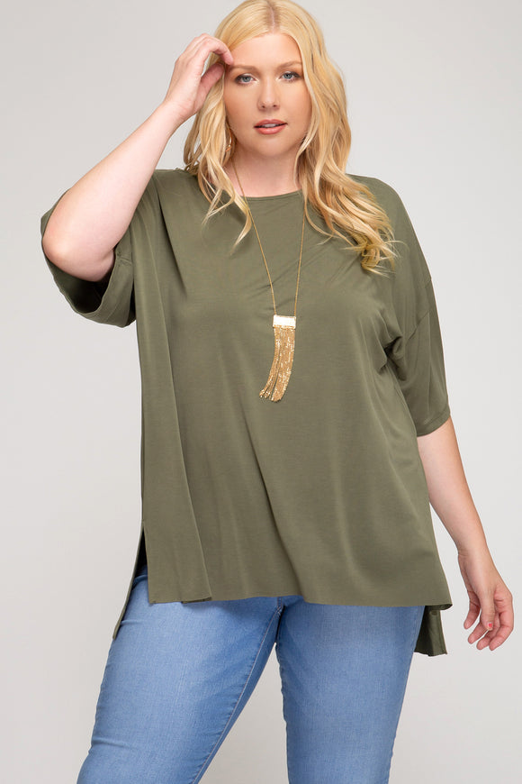 Lounging Around - Olive Tee