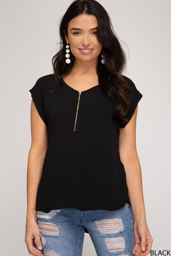You Can Have It All - Black Zippered Top