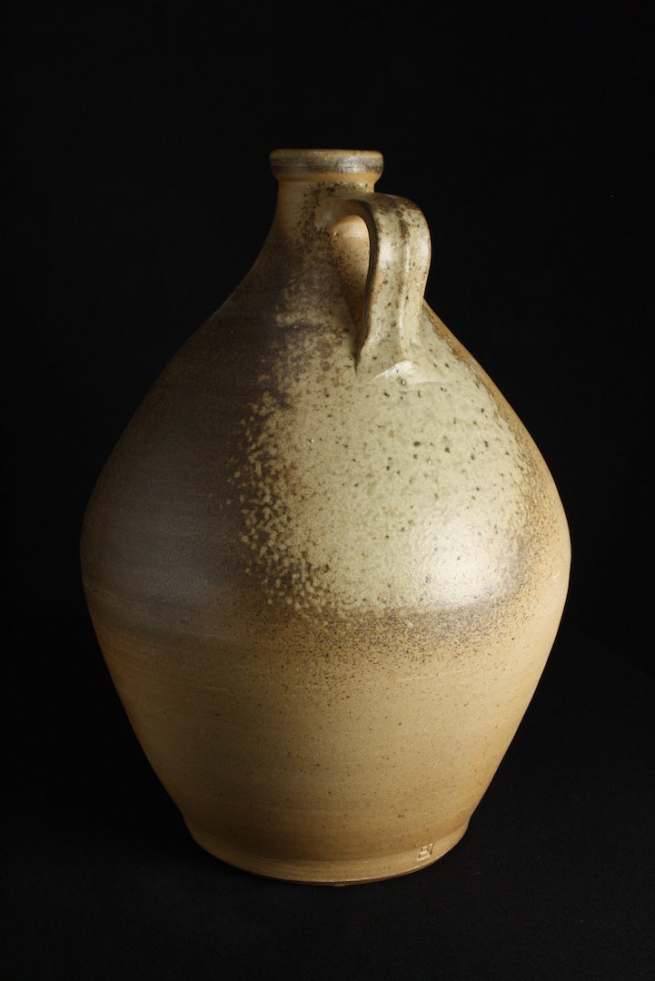 Handled bottle | 38cm H | celadon glaze and natural ash
