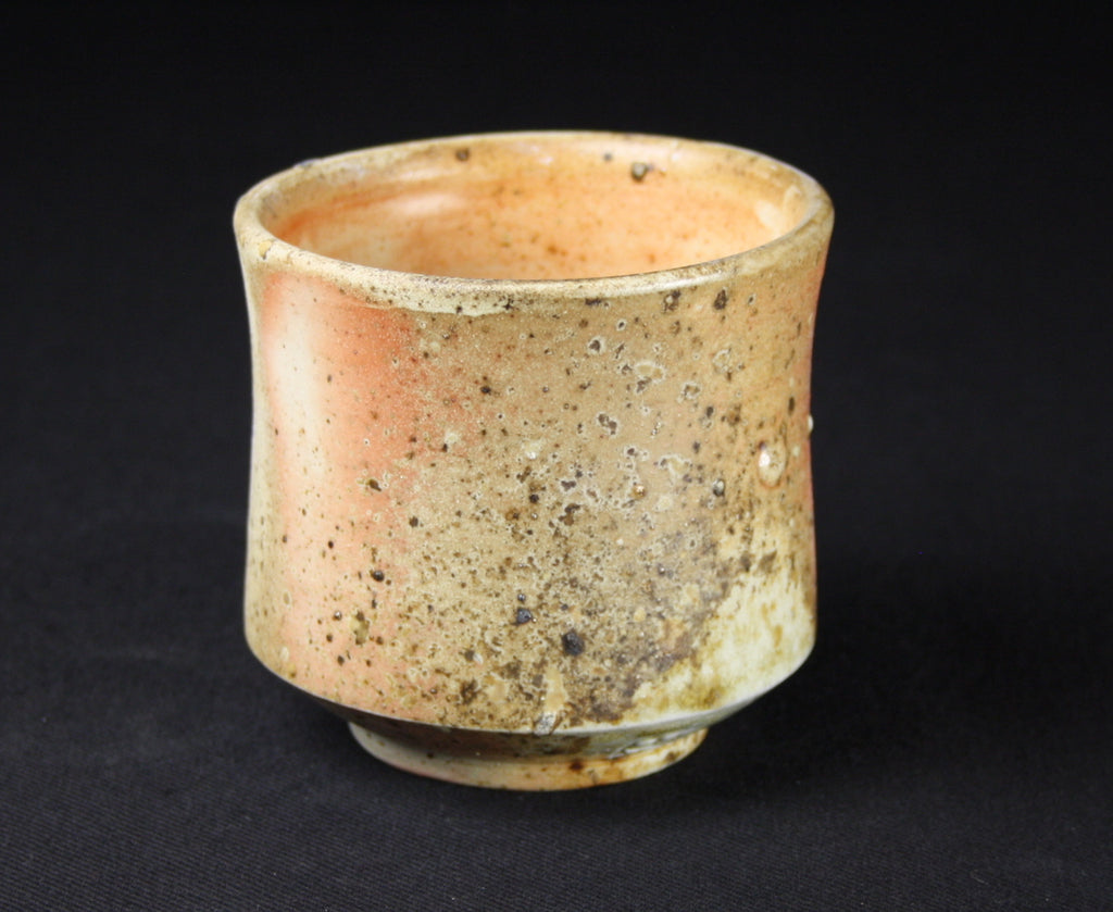 Yunomi, 9 cm H, 9cm dia., stoneware, shino glaze inside, natural ash flashing