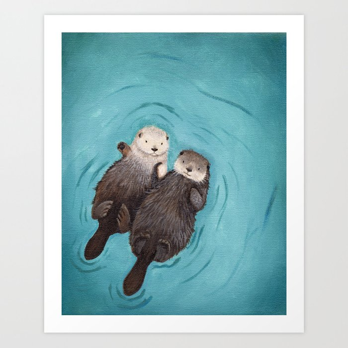 Otterly Romantic - The Original Otters Holding Hands Print