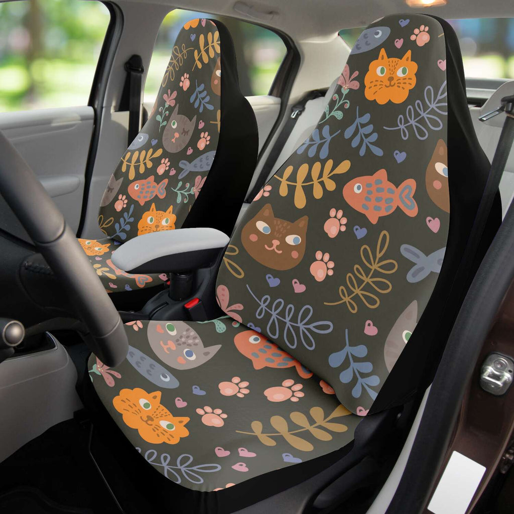Cat and Fish Car Seat Cover