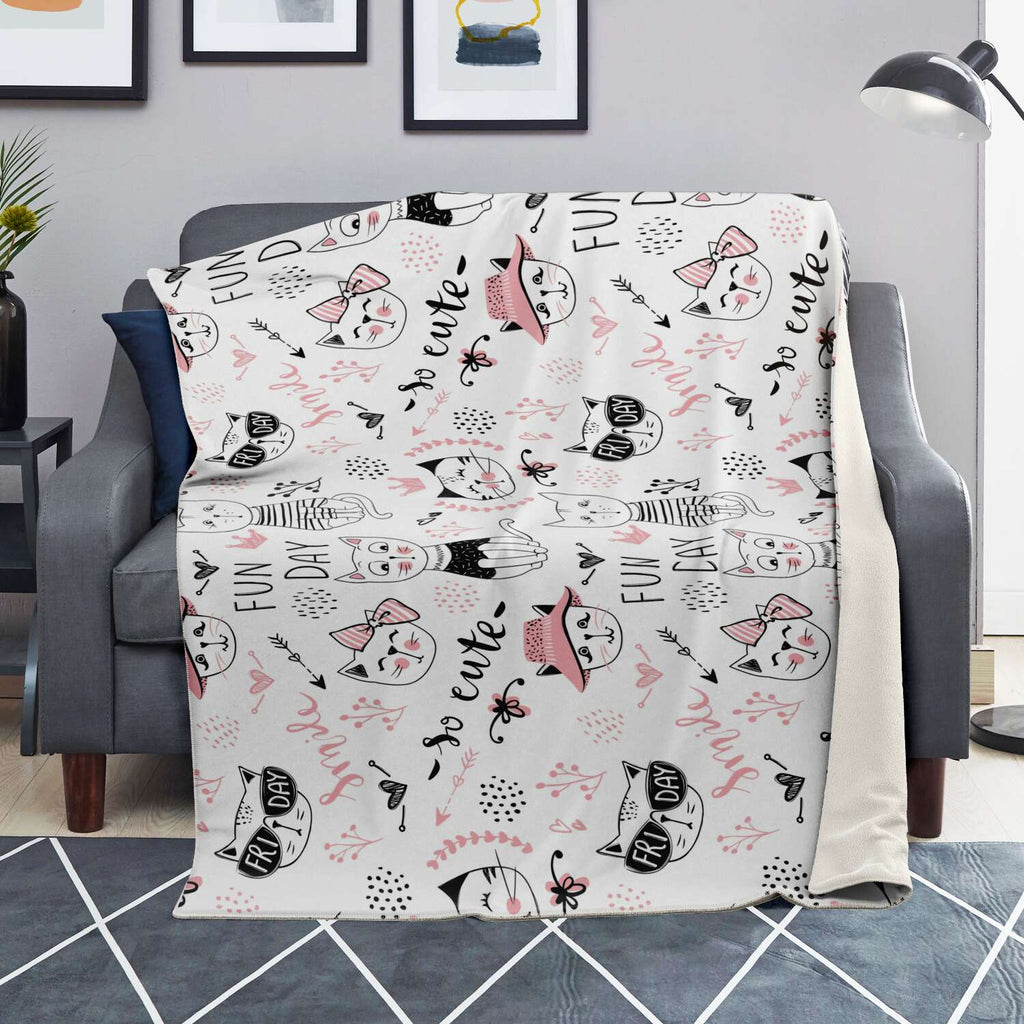 Fun Day Cat Premium Microfleece Blanket