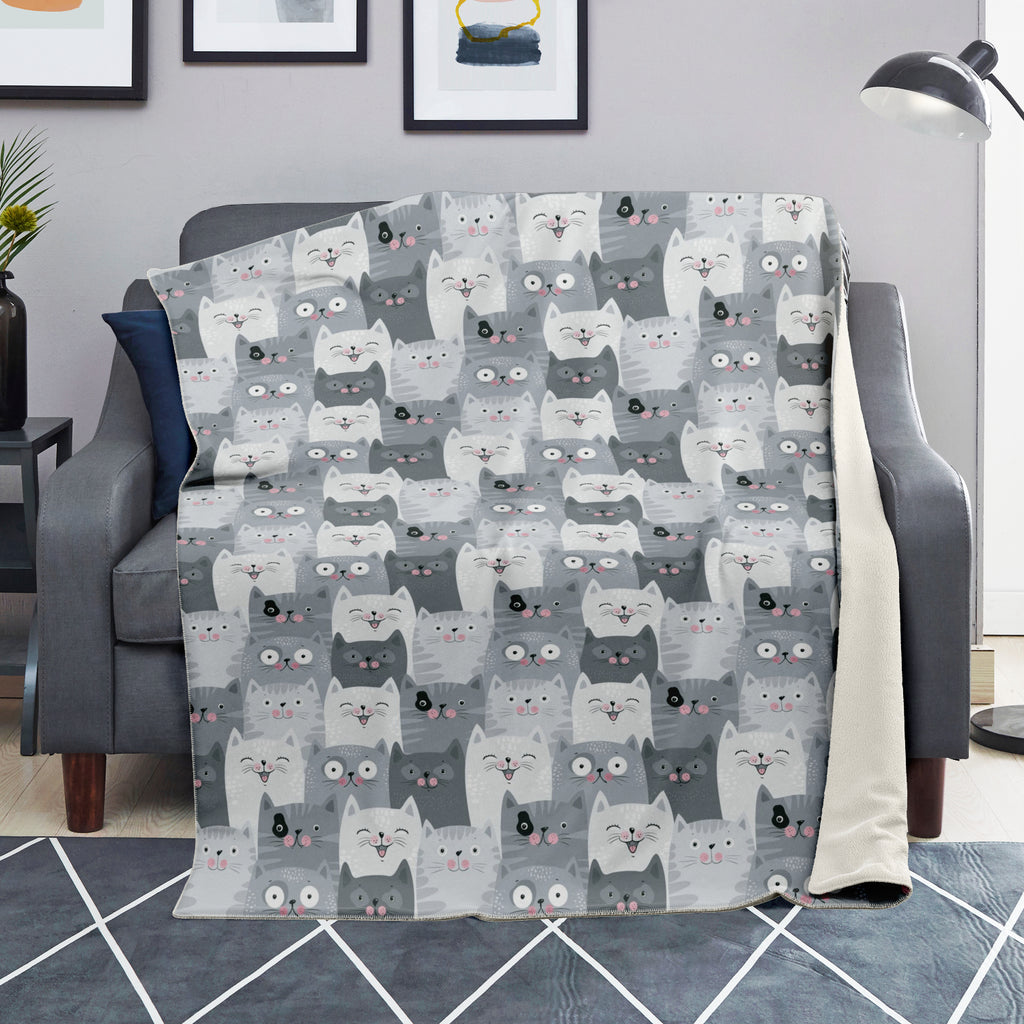 Cute Cat Premium Microfleece Blanket