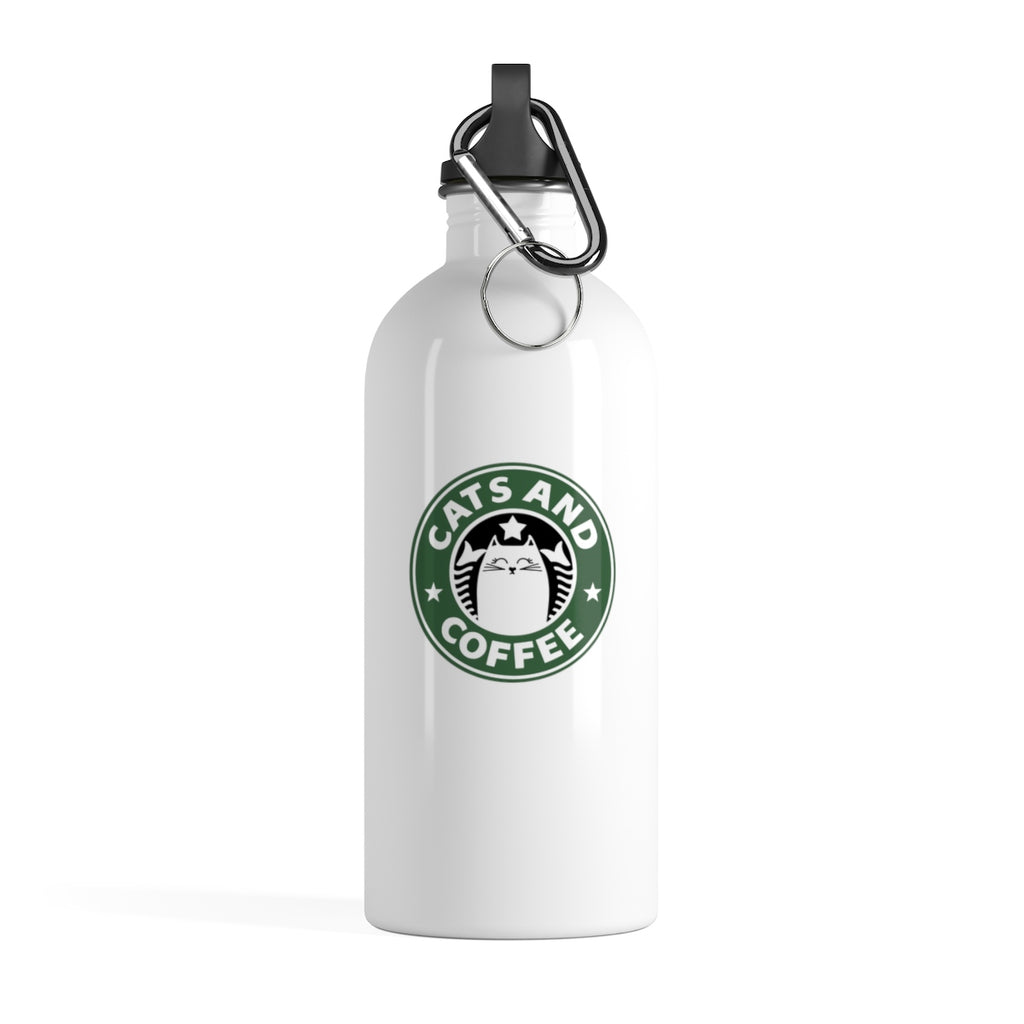 Cats And Coffee Stainless Steel Water Bottle