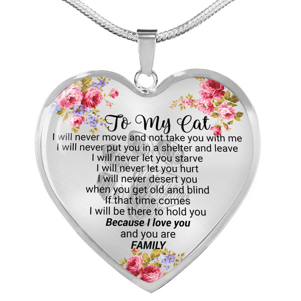 To My Cat Luxury Heart Necklace