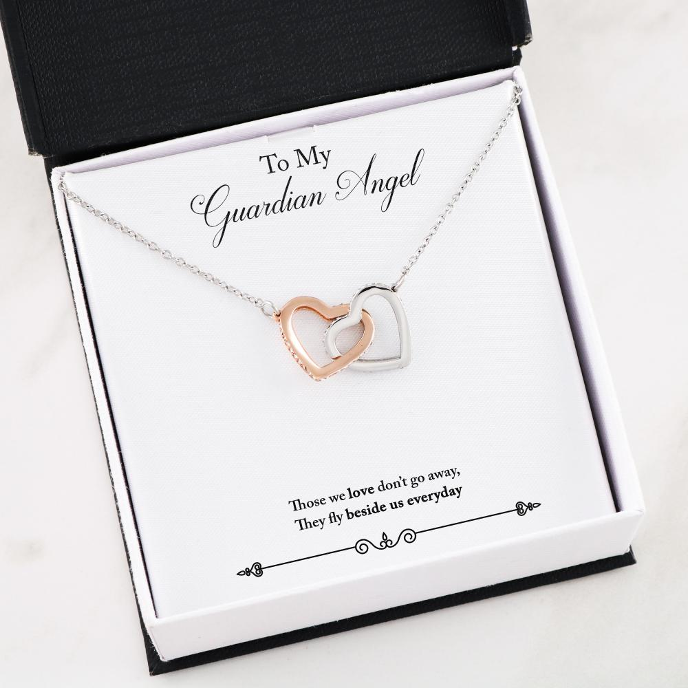 Guardian Angel Interlocking Hearts Necklace