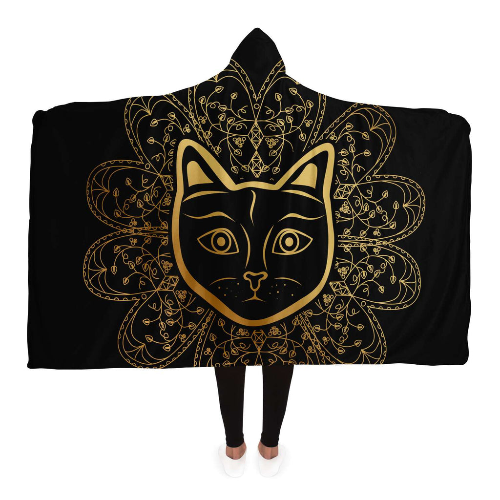 Cat Mandala Hooded Blanket