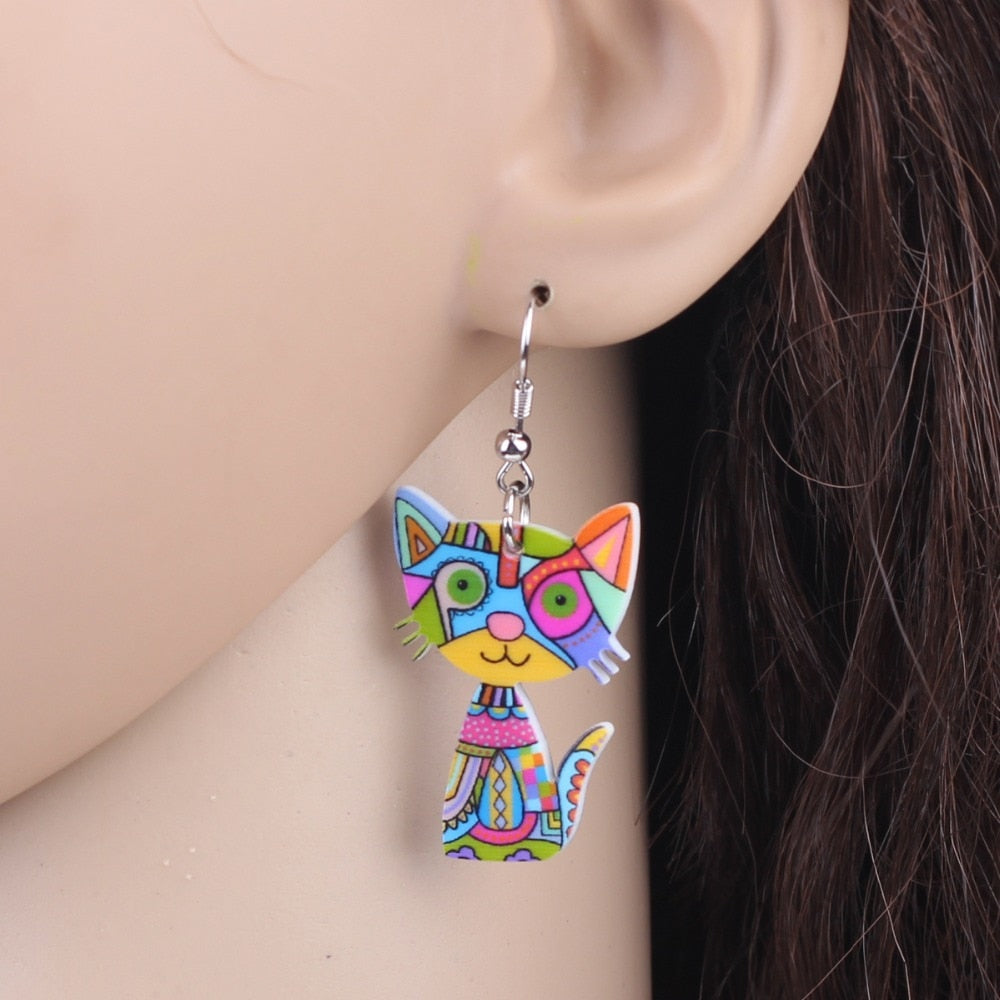 Cute Cat Acrylic Earrings