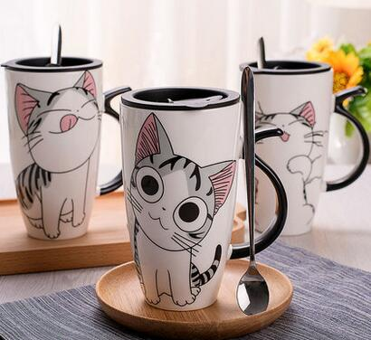 Creative Cat Ceramic Mug With Lid and Spoon