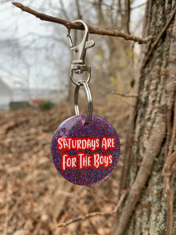 Pre-made Tag// Saturdays Are For The Boys 1.5 inch Round Dog Tag - Ryderdie Designs