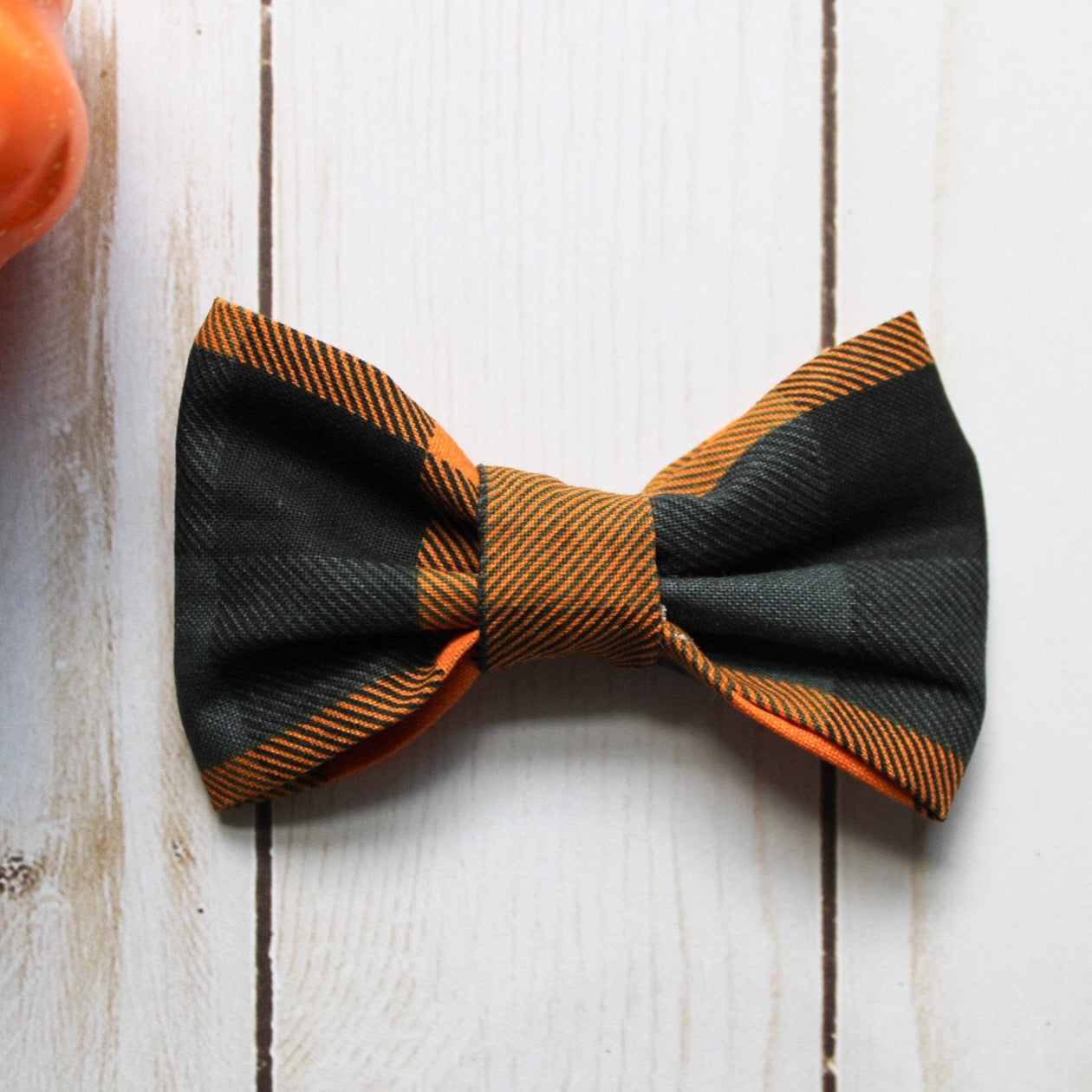 Orange and Blue Plaid Bow