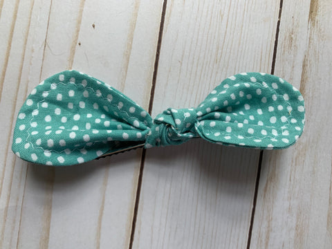 Blue Polka Dot Rounded Bow