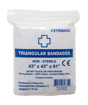 "FSTRIBAN2 TRIANGULAR BANDAGE 43"" X 43"" X 61"" 2 SAFETY PINS, BLEACHED-WHITE 10PC/PK, 25PK/CTN"