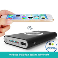 iPhone X/8/8 Plus/ Samsung Note 8 Power Bank 10000mAh With QI Wirless Charging Pad Fast Charger