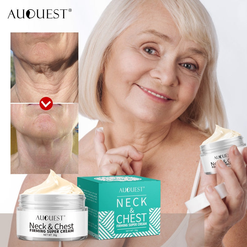 AuQuest Neck & Chest Firming Cream Anti Wrinkle Smooth Horizontal Line Collagen Lifting