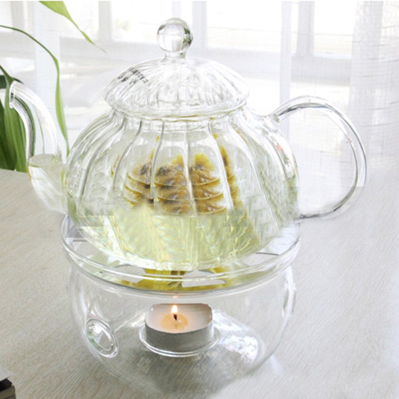 Portable Clear Teapot Holder Base  Warmer Candle Coffee Water Tea Holder Glass Heat-Resisting Teapot Warmer Insulation Base