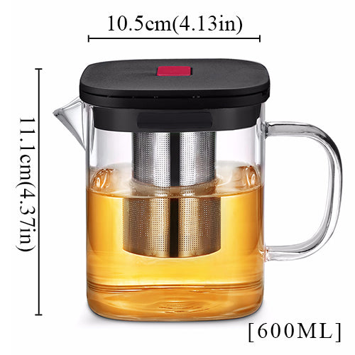 Square Glass Teapot Stainless Steel Infuser