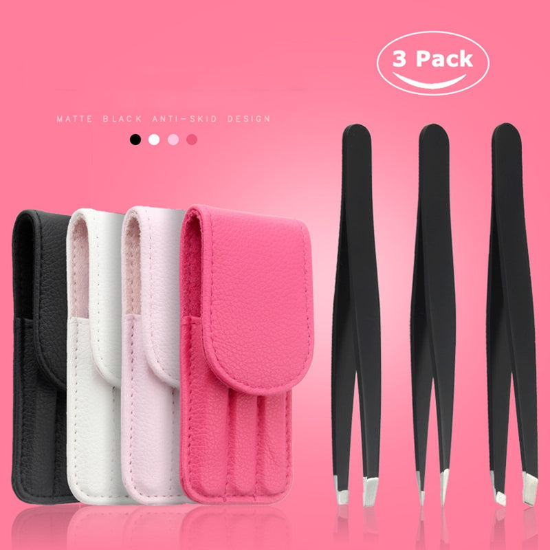 3 PCS /set Eyebrow Tweezers Stainless Steel Point Tip/Slant Tip/Flat Tip Hair Removal Makeup Tools Accessory with Bag case TSLM1