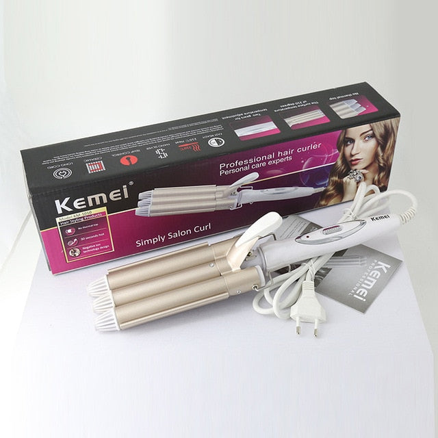 Professional Curling Iron Ceramic Triple Barrel Hair Styler
