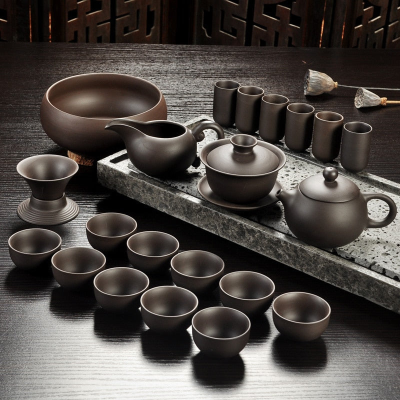 Yixing Purple sand tea set black/red ceramic kung fu Teapot, handmade