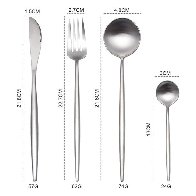 White Gold Cutlery Set Western 18/10 Stainless Steel Tableware