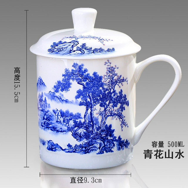 500ml Chinese Style Bone China Jingdezhen Blue and White Porcelain Tea Cup Office Drink Cup Travel Teaware