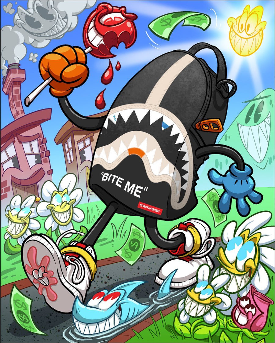SPRAYGROUND BITE ME SHARK (BLACK) BACKPACK