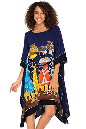 Back From Bali Womens Short African Beach Swim Suit Cover Up Caftan Poncho