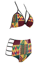 Load image into Gallery viewer, B-Sin Women's African Tribal Totems Printing Padded Cutout High Waisted Push-Up Bikini Bathing Suit