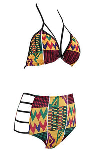 B-Sin Women's African Tribal Totems Printing Padded Cutout High Waisted Push-Up Bikini Bathing Suit
