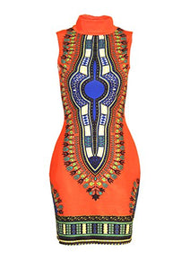 SheKiss Women's Traditional African Print Dashiki Bodycon Sleeveless High Collar Dress