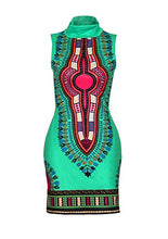 Load image into Gallery viewer, SheKiss Women's Traditional African Print Dashiki Bodycon Sleeveless High Collar Dress