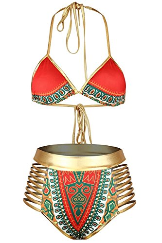 Century Star Women's Sexy African Tribal Print Swimsuit High Cut One Piece Swimsuit Backless Monokini