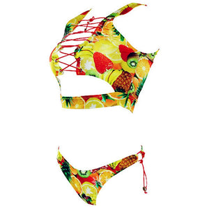 xlskA Women's 2 Pieces African Print Bathing Suit Bikini Set Lace up Padded Thong Swimsuit