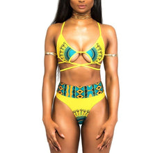 Load image into Gallery viewer, Womens 2 Piece Swimsuit African Print Cut Out Monokini High Waisted Bikini Set (M, Yellow)