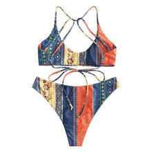 Load image into Gallery viewer, Napoo Bikini Set, Tribal Print Swimsuits for Women, Boho Swimsuits for Women, African Bathing Suits for Women
