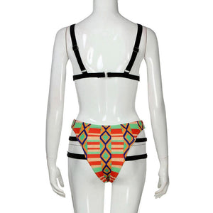 Bikini Set, Womens African Print Inspired Two Piece Bathing Suit Swimwear Bikinis