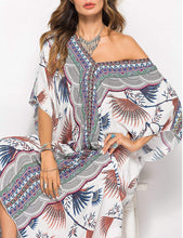 Load image into Gallery viewer, Bsubseach Women Bathing Suits Cover Up Ethnic Print Kaftan Beach Maxi Dress