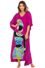 Load image into Gallery viewer, Back From Bali Womens Long African Print Beach Swim Suit Cover Up Caftan Poncho